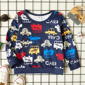 Toddler Boy Letter Cars Vehicle Print Casual Pullover Sweatshirt