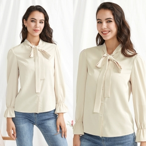 Casual Solid Stand Collar Long-sleeve Shirt