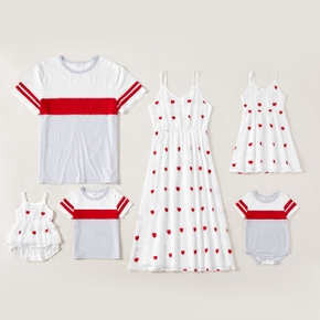 Heart Allover Color Block Family Matching Red and White Sets