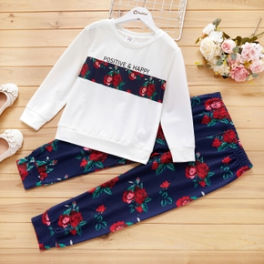 2-piece Kid Girl Letter Floral Print Long-sleeve Top and Elasticized Pants Casual Set