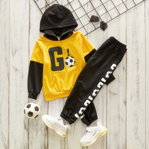 2-piece Toddler Boy Letter Ball Print Colorblock Hoodie with Pocket and Elasticized Pants Set