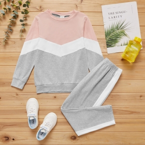2-piece Kid Girl Colorblock Pullover and Elasticized Pants Casual Set
