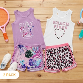 2-Pack Kid Girl Letter Print Sleeveless Tank Top and Leopard/Leaf Print Shorts Set
