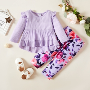 Baby Girl 2pcs Purple Ribbed Long-sleeve Top and Floral Print Trouser Set