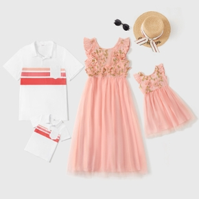 Floral or Stripe Print Splice Family Matching Pink Sets