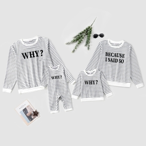 Letter and Stripe Print Matching T-shirts Tops Pullovers