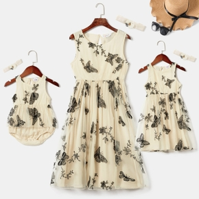 Butterfly Embroidery Sleeveless Matching Beige Midi Tank Dresses