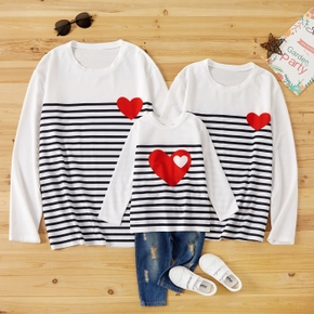 Love Pattern Striped Family Matching Cotton Long Sleeve Tops
