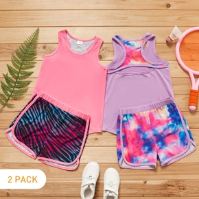 2 Pack Kid Girl Sleeveless Back Hollow out Tank Top and Striped/Tie Dye Elasticized Shorts Sporty Set