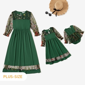 Floral Embroidered Long-sleeve Green Dress for Mommy and Me