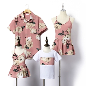 Floral Print Family Matching Short Sleeve Tops