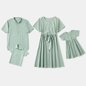 Solid Family Matching Light Green Sets