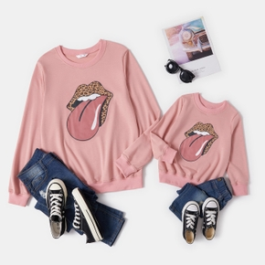 Leopard Print Tongue Pattern Pink Cotton Sweatshirts for Mom and Me