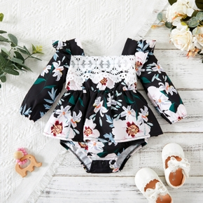 Baby Girl Floral Print Lace Decor Long Sleeve Romper