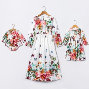 Floral and Butterfly Print Long-sleeve Matching White Midi Dresses