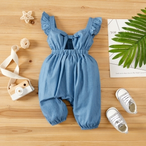 Baby Girl Solid Blue Sleeveless Hollow-out Back Overall Jumpsuit