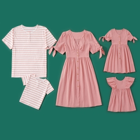 100%Polyester Pink Series Family Matching Sets(Solid Pink Dresses For Mom and Girl ; Stripe T-shirts for Dad and Boy)