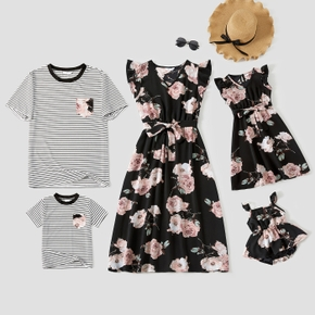 Floral Print Black Family Matching Sets(Ruffle Sleeve Dresses for Mom and Girl;Striped Short Sleeve T-shirts for Dad and Boy)