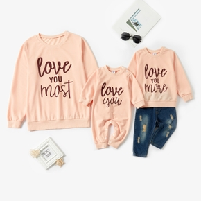 Letter Print Pink Long Sleeve Sweatshirts for Mom and Me