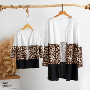 Leopard Splice Print Long Sleeve Cardigan for Mommy and Me
