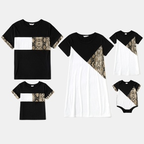Snake Print Splice Color Block Family Matching Sets