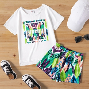 'Queen' Letter an Leaf Print Tee and Shorts Athleisure Set for Toddlers/Kids
