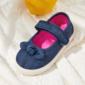 Toddler Solid Bow Decor Velcro Closure Shoes
