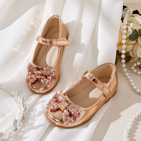 Toddler / Kid Solid Bow Decor Shiny Shoes
