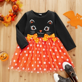Toddler Girl Cat Print Polka dots Bowknot Design Stitching Long-sleeve Tulle Dress