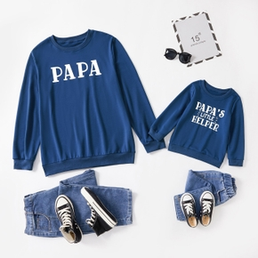 Letter Print long sleeve Tops for Dad and Me