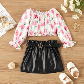 2-piece Toddler Girl Floral Print Ruffle-sleeve Blouse and Belted PU Leather Skirt Set