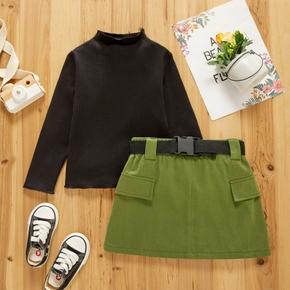 2-piece Toddler Girl Mock Neck Long-sleeve Ribbed Black Tee and Green Skirt with Buckle Belt Set
