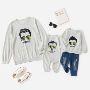 Grey Long Sleeve Sweatshirts for Daddy and Me