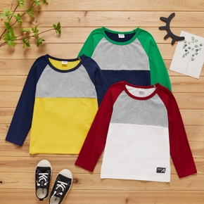 Kid Boy Long Raglan Sleeve Colorblock Letter Number Embroidery Casual T-shirt