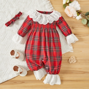 Christmas 2pcs Shirred Red Plaid Long-sleeve Baby Jumpsuits