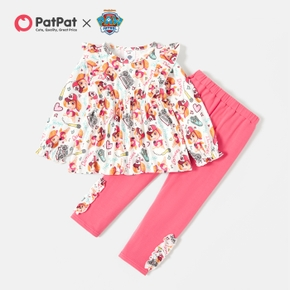 PAW Patrol 2-piece Toddler Girl Allover Ruffle Top and Leggings Set