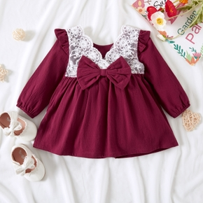 100% Cotton Baby Girl Solid Lace Splicing Bowknot Long-sleeve Dress