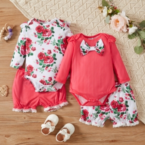 Baby Girl 2pcs Solid and Floral Print Long-sleeve Romper and Shorts Set
