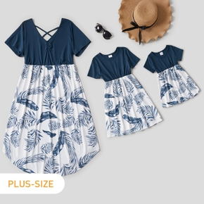 Leaves Print Navy Blue Short Sleeve Splicing Midi Dress for Mom and Me