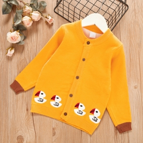 Toddler Girl Cute Duck Embroidery Button Design Sweater Jacket