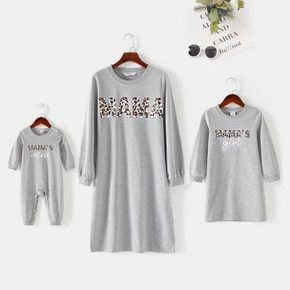 Leopard Letter Print Long-sleeve Sweatshirt Dress for Mom and Me