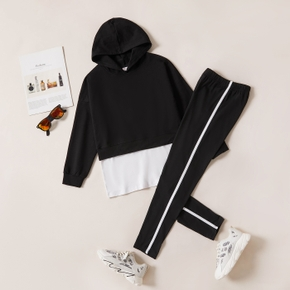 2-piece Kid Girl Back Letter Print Faux-two Hoodie and Striped Elasticized Pants Casual Set