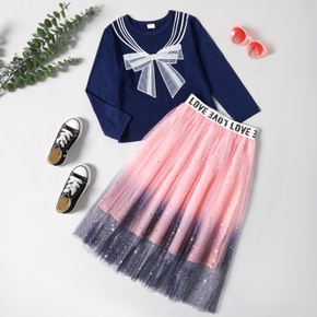 2-piece Kid Girl Striped Bowknot Embroidery Sailor Collar Pattern Long-sleeve Top and Letter Print Star Glitter Tulle Skirt Set
