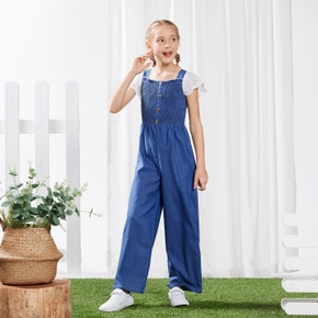 Kid Girl White Hollow out Short-sleeve Pleated Button Design Denim Jumpsuit