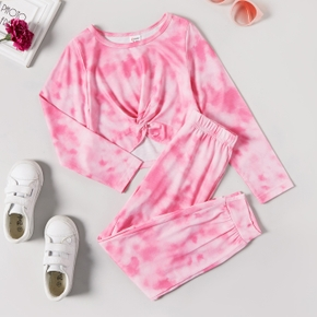 2-piece Kid Girl Tie Dye Twist Knot Long-sleeve Top and Elasticized Pants Casual Set