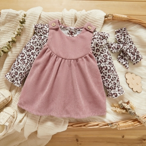 2pcs Solid Corduroy and Leopard Print Long-sleeve Romper Baby Set