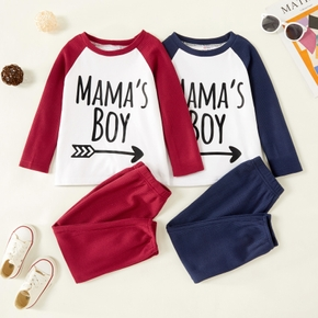 2-piece Toddler Boy Letter Print Raglan Sleeve Pullover and Waffle Knit Pants Set