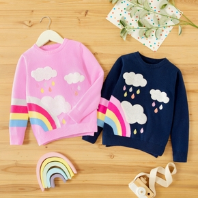 Toddler Girl Cloud Rainbow Embroidery Sweater Knitted Pullover