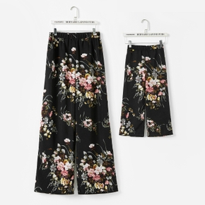 Allover Floral Print Black Wide Leg Pants for Mom and Me