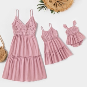 100% Cotton Solid Pink Lace Splicing V-neck Sleeveless Sling Dress for Mom and Me
